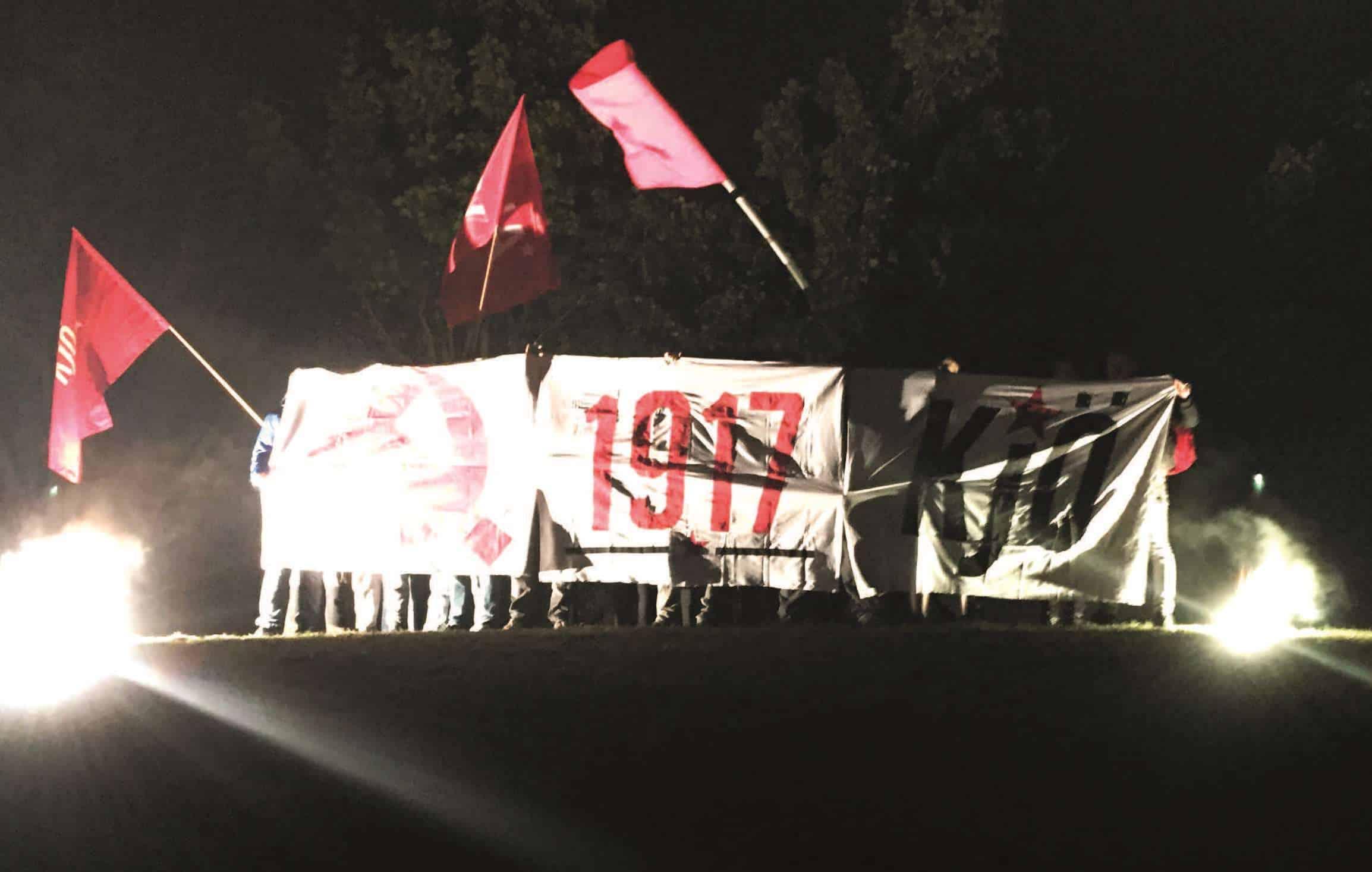 Transparent zu Ehren der Großen Sozialistischen Oktoberrevolution in Russland